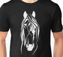 Detailed Styled Horse Head in White Unisex T-Shirt