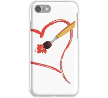 Brush painting a heart iPhone Case/Skin