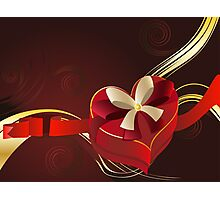 Brown Background with Heart Shaped Box 2 Photographic Print