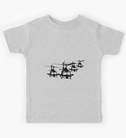 Huey Helicopter Team in Black v1 Kids Tee