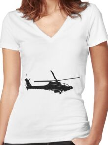 Large Detailed Apache AH-64 Helicopter Black v1 Women's Fitted V-Neck T-Shirt
