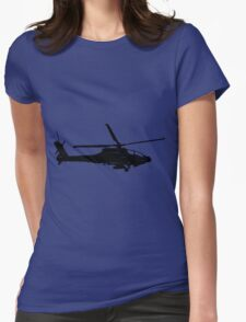 Large Detailed Apache AH-64 Helicopter Black v1 Womens Fitted T-Shirt