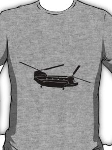 Large Detailed Boeing Chinook Helicopter Black v1 T-Shirt