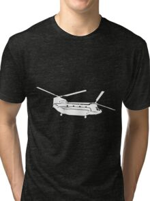 Large Detailed Boeing Chinook Helicopter White v1 Tri-blend T-Shirt