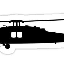 Blackhawk Helicopter Design in Black v1 Sticker