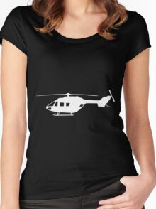 BK117 Helicopter Design in White Women's Fitted Scoop T-Shirt