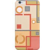 Abstract modern squares circles seamless pattern orange iPhone Case/Skin