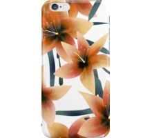 Seamless pattern with orange lilies texture on white iPhone Case/Skin