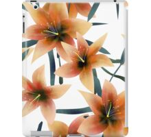 Seamless pattern with orange lilies texture on white iPad Case/Skin