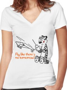 RC Helicopter Hobbes Design Women's Fitted V-Neck T-Shirt