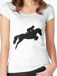 Horse Jumper Design in Black Women's Fitted Scoop T-Shirt