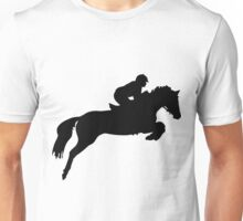 Horse Jumper Design in Black Unisex T-Shirt