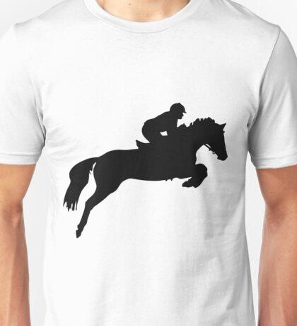 Horse Jumper Design in Black Unisex T-Shirt