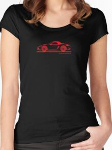 Porsche 981 Boxster Top Up Red Women's Fitted Scoop T-Shirt