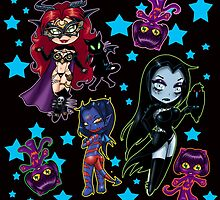 Tarot & Friends Chibi design on Black! by BooCat