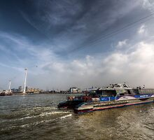 Thames Clipper And Cable Car by DavidHornchurch