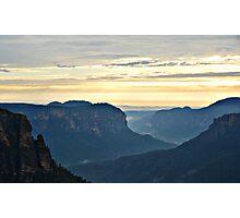 Misty Blue Mountain Sunrise - Govetts Leap Photographic Print