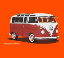VW Bus T2 Samba Red White Kids Tee
