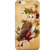 Autumn Barn Owl and Maple Leaves iPhone Case/Skin