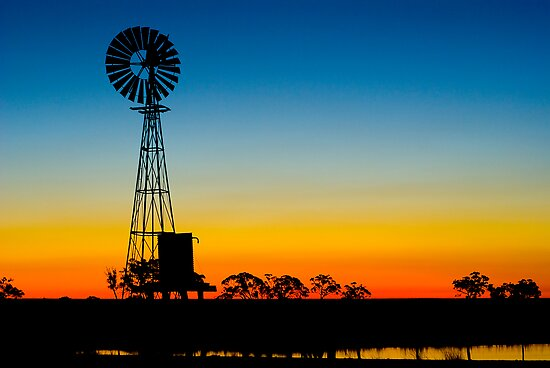 Sunset / Wind Mill by Murray Wills