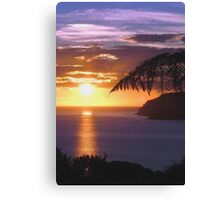 Sunset over Tryphena harbour, Great Barrier Island, New Zealand. Canvas Print
