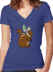 Faerie and Squirrel Women's Fitted V-Neck T-Shirt
