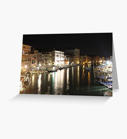 The Grand Canal At Night Greeting Card