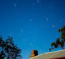 Southern Cross Moon lit Mud Brick House by Murray Wills