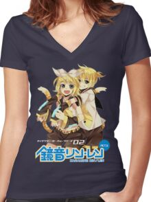 Rin and Len Kagamine - Vocaloid Women's Fitted V-Neck T-Shirt