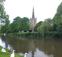 Geese Looking at Holy Trinity Church, Stratford on Avon by EricFalk