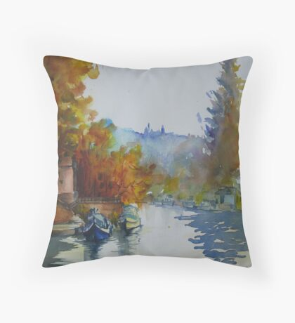 Canal with Russet Trees Throw Pillow