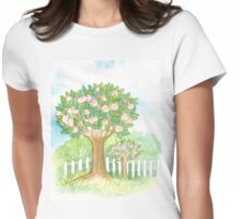SPRING BLOOMING APPLETREES BEHIND A WHITE FENCE  Womens Fitted T-Shirt