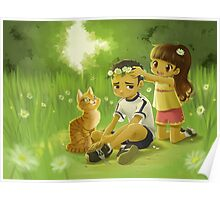 Boy and Girl Picking Flowers Poster