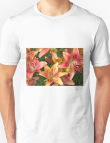 Lilies In Orange Red And Yellow  T-Shirt