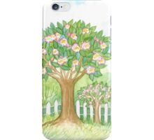 SPRING BLOOMING APPLETREES BEHIND A WHITE FENCE  iPhone Case/Skin
