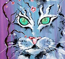 Turquoise Eyes Cat - Animal Art by Valentina Miletic by Valentina Miletic