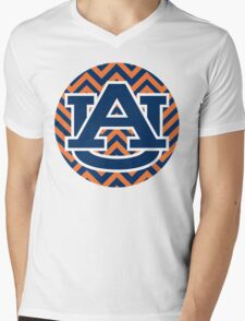 Chevron Auburn Mens V-Neck T-Shirt