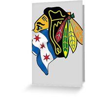 Blackhawks Chicago Flag Greeting Card