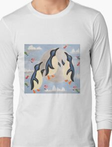 Penguins Playing with the Moon Long Sleeve T-Shirt