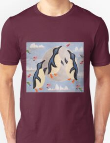 Penguins Playing with the Moon Unisex T-Shirt