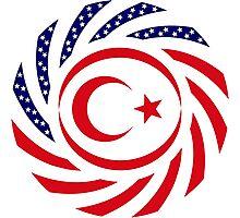 Northern Cyprus American Multinational Patriot Flag Series Photographic Print