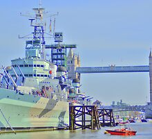 HMS  Belfast & Tower Bridge by Stephen Way