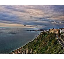 view of the coastline from Taormina Photographic Print