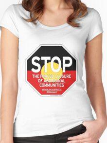 OFFICIAL MERCHANDISE - #SOSBLAKAUSTRALIA design 2 Women's Fitted Scoop T-Shirt