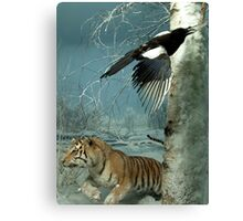 Natural environment diorama - a tiger and a bird in the snow  Canvas Print
