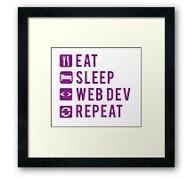 Eat Sleep Web Dev Repeat Purple Framed Print