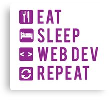 Eat Sleep Web Dev Repeat Purple Canvas Print