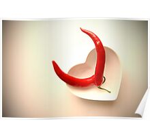 Vibrant Red Cayenne Chilli Pepper Devil Horns Concept Poster