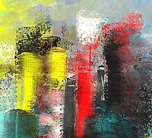 Urban Abstract in Red, Aqua, and Yellow by Jessielee72