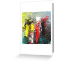 Urban Abstract in Red, Aqua, and Yellow Greeting Card
